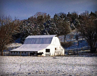 Photograph - Snow Dusted Barn by Cricket Hackmann