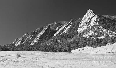 Photograph - Snow Dusted Flatirons Boulder Co Panorama Bw by James BO Insogna