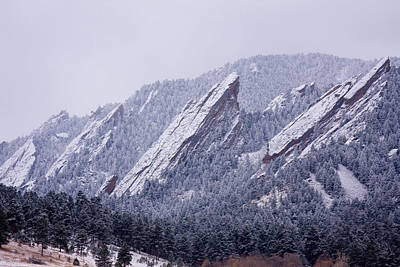Photograph - Snow Dusted Flatirons Boulder Colorado by James BO  Insogna