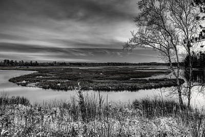 Photograph - Snow Dusted Marsh Black And White by Dale Kauzlaric