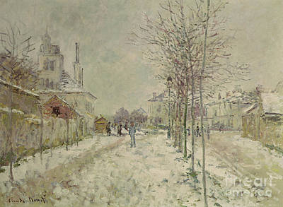 Winter Scene Painting - Snow Effect by Claude Monet