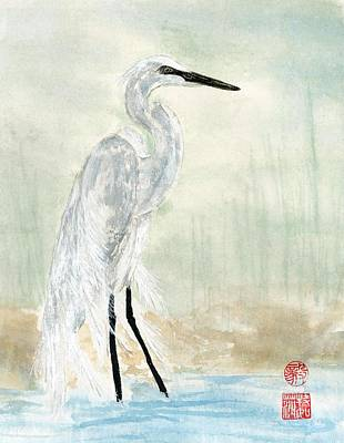 Painting - Snow Egret by Terri Harris