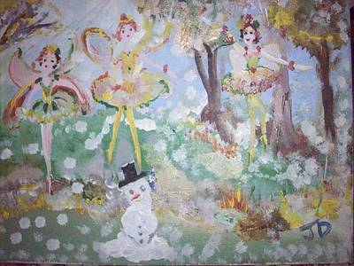 Art Print featuring the painting Snow Fairies by Judith Desrosiers