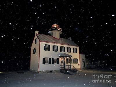 Photograph - Snow Falling On East Point Lighthouse  by Nancy Patterson