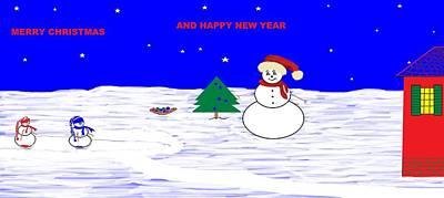 Digital Art - Snow Family Christmas by Linda Velasquez
