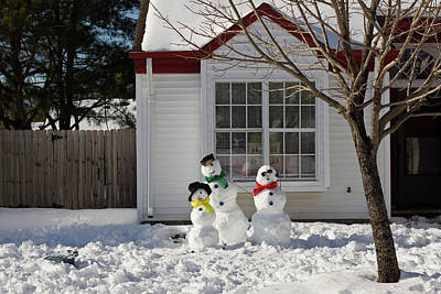 Snowwoman Photograph - Snow Family by MotionOne Studios