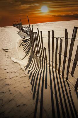 Snow Fence At Sunset Art Print