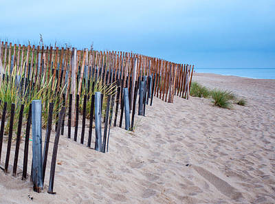 Art Print featuring the photograph Snow Fence On The Beach by Chris Babcock
