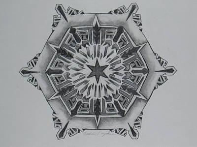 Snow Flake Drawing - Snow Flake 3 by Nadine Unzicker
