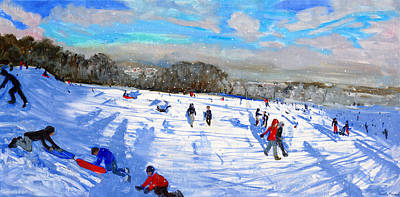 Winter In The Country Painting - Snow Flurries by Andrew Macara