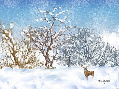 Snow Scene Digital Art - Snow Flurry by Arline Wagner