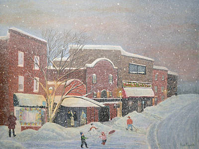City Painting - Snow For The Holidays Painting by Ken Figurski