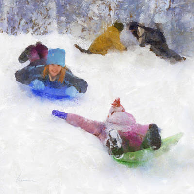 Snow Fun Art Print by Francesa Miller