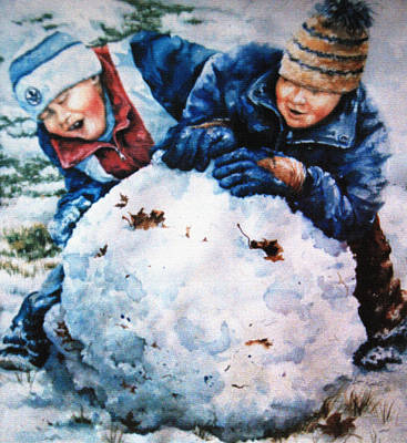 Action Portrait Painting - Snow Fun by Hanne Lore Koehler