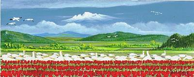 Snow Geese Painting - Snow Geese And Tulips by Bob Patterson