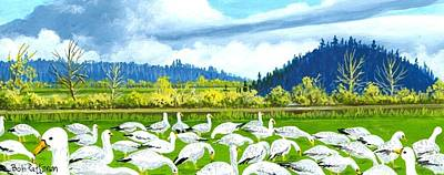 Washington State Skagit County Painting - Snow Geese Dodge Valley by Bob Patterson