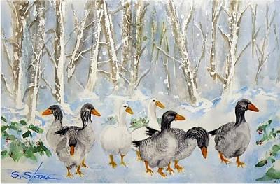 Snow Geese Painting - Snow Geese by Sandra Stone