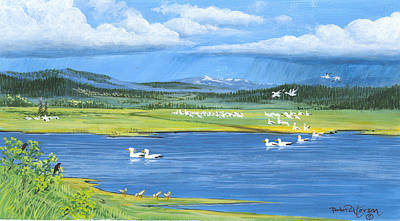 Snow Geese  Tidal Flats Print by Bob Patterson