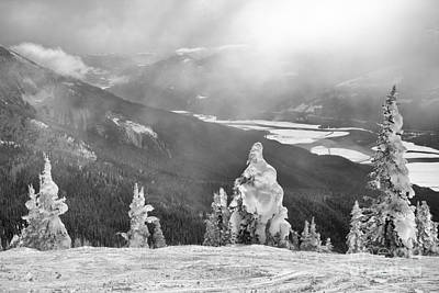 Photograph - Snow Ghosts Overlooking The Columbia River Black And White by Adam Jewell