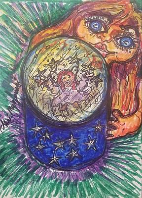 Chargers Drawing - Snow Globe by Geraldine Myszenski