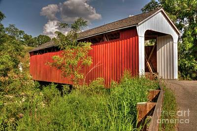 Franklin Township Photograph - Snow Hill Covered Bridge by Paul Lindner