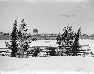 Landmarks Painting Royalty Free Images - Snow in Jerusalem, 1921 , by American Colony 13 Royalty-Free Image by American Colony