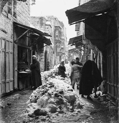 Landmarks Painting Royalty Free Images - Snow in Jerusalem, 1921 , by American Colony 21 Royalty-Free Image by American Colony