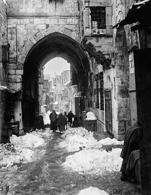 Landmarks Painting Royalty Free Images - Snow in Jerusalem, 1921 , by American Colony 23 Royalty-Free Image by American Colony