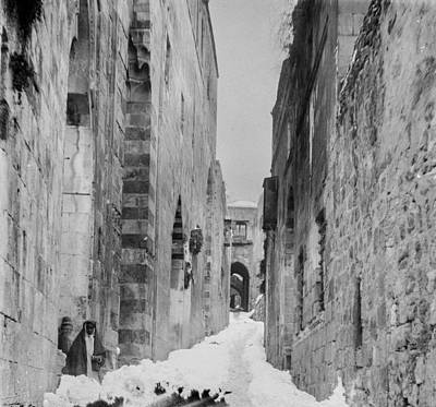 Landmarks Painting Royalty Free Images - Snow in Jerusalem, 1921 , by American Colony 4 Royalty-Free Image by American Colony