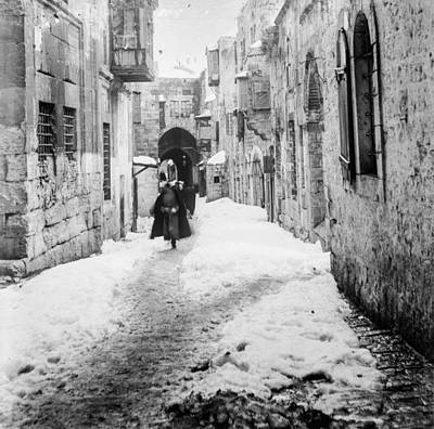 Landmarks Painting Royalty Free Images - Snow in Jerusalem, 1921 , by American Colony 7 Royalty-Free Image by American Colony