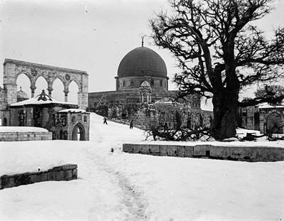 Landmarks Painting Royalty Free Images - Snow in Jerusalem, 1921 , by American Colony 8 Royalty-Free Image by American Colony