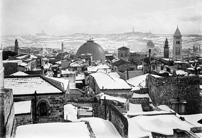 Landmarks Painting Royalty Free Images - Snow in Jerusalem, 1921 , by American Colony Royalty-Free Image by American Colony