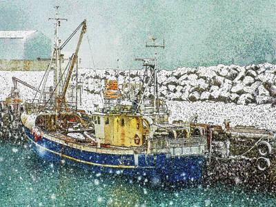 Digital Art - Snow In Keflavik by Frans Blok