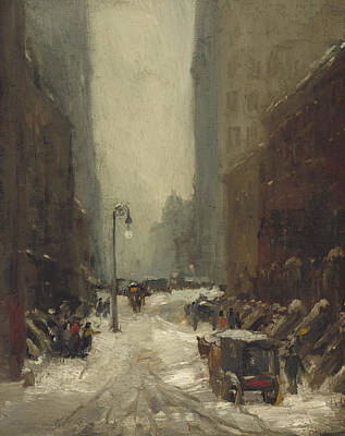Coach Lamps Painting - Snow In New York by Robert Cozad Henri