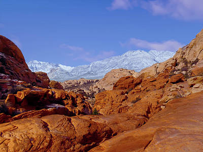 Photograph - Snow In Red Rock Canyon Las Vegas Nevada by Alan Socolik