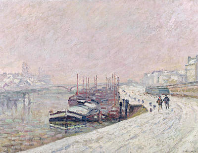 Snow Scene Painting - Snow In Rouen by Jean Baptiste Armand Guillaumin