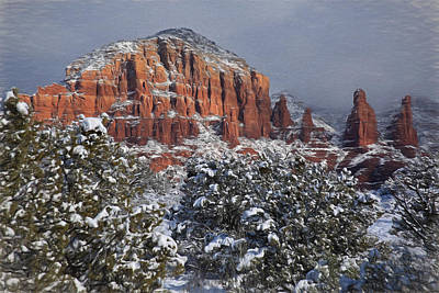 Snow In Sedona  2 Art Print by Donna Kennedy