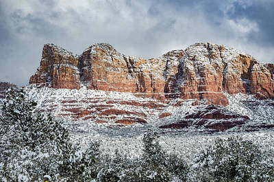 Brown White Sedona Trees Photograph - Snow In Sedona by Brian Oakley Photography