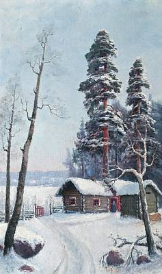 Back Yard Painting - Snow In The Back Yard by Ellen Favorin