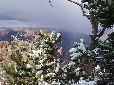 Print featuring the photograph Snow In The Canyon by Roberta Byram