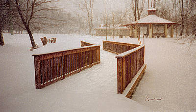 Snow Scene Landscape Mixed Media - Snow In The Park 3d by Garland Johnson