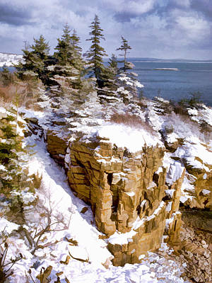Maine Mountains Painting - Snow In The Park Acadia Maine by Elaine Plesser