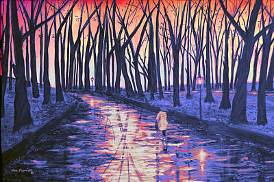 Rain Painting - Snow In The Park At Sunset by Ken Figurski