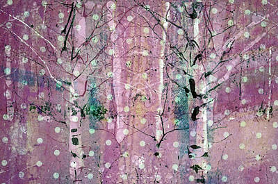 Snow Falling In The Pastel Forest Art Print by Tara Turner