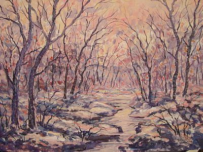 Snow In The Woods. Art Print