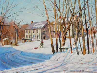 Painting - Snow Is For Sledding by Bonita Waitl