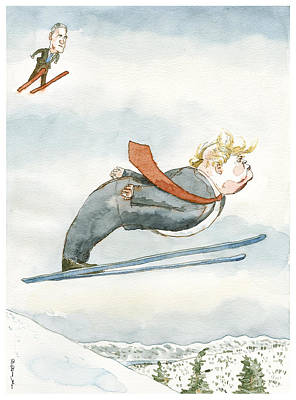 Winter Landscape Drawing - Snow Job by Barry Blitt