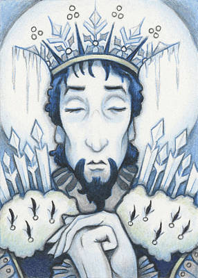 Snow King Slumbers Art Print by Amy S Turner