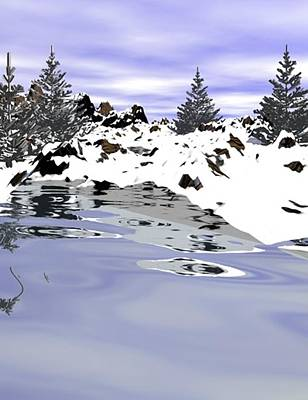 Digital Art - Snow Lake by Darren Cannell