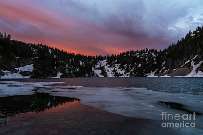 Snow Lake Icy Sunrise Fire Art Print by Mike Reid